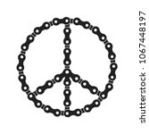 vector peace sign made of bike... | Shutterstock .eps vector #1067448197
