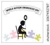 world autism day  a little...   Shutterstock .eps vector #1067452787