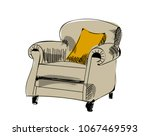 armchair sketch. hand drawn... | Shutterstock .eps vector #1067469593