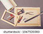canvas artist on roll ... | Shutterstock . vector #1067520383