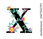 floral letter x. serif.... | Shutterstock .eps vector #1067532797