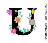 floral letter u. serif.... | Shutterstock .eps vector #1067533253