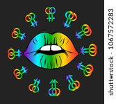 lgbt logo symbol sticker.  lips ... | Shutterstock .eps vector #1067572283