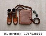 men's leather handbag  belt ...   Shutterstock . vector #1067638913