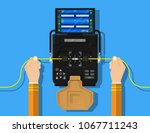 fiber optic splicing by... | Shutterstock .eps vector #1067711243