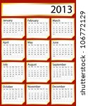 A 2013 calendar created with gold stickers. Space for text or Company name. EPS10 vector format - stock vector