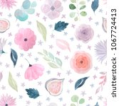 seamless pattern with hand... | Shutterstock . vector #1067724413
