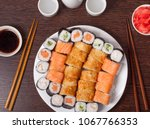 japanese sushi traditional... | Shutterstock . vector #1067766353