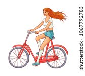 pretty young redhead woman in...   Shutterstock .eps vector #1067792783