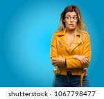 beautiful young woman nervous... | Shutterstock . vector #1067798477