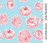 seamless pattern of pink peony... | Shutterstock .eps vector #1067816063
