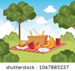 tableclothes picnic with food... | Shutterstock .eps vector #1067885237