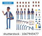 young  african american  boy or ... | Shutterstock .eps vector #1067945477