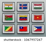 set waving flags in picture... | Shutterstock .eps vector #1067957267