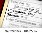 Nutritional label with focus on cholesterol. - stock photo