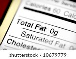Nutritional label with focus on fats. - stock photo