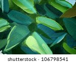 painting by oil on a canvas, leaves,  illustration, background - stock photo