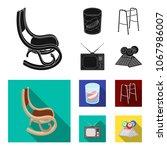 denture  rocking chair  walker  ... | Shutterstock .eps vector #1067986007