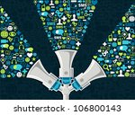 three megaphones throwing... | Shutterstock .eps vector #106800143