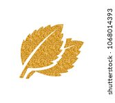 basil leaves icon in gold... | Shutterstock .eps vector #1068014393