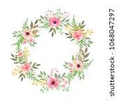 floral wreath. elegant floral... | Shutterstock . vector #1068047297