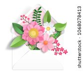 envelope. 3d paper flowers.... | Shutterstock . vector #1068078413