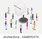 isometric vector satellite... | Shutterstock .eps vector #1068092273