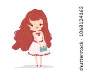 cute girl with book  vector... | Shutterstock .eps vector #1068124163