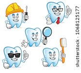 tooth character vector pack ...   Shutterstock .eps vector #1068125177