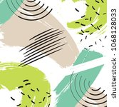 hand painted green brush... | Shutterstock .eps vector #1068128033