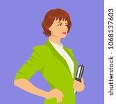 working woman illustration  | Shutterstock .eps vector #1068137603