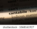 Small photo of cantabile word in a dictionary. cantabile concept.