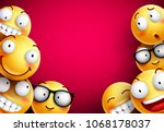 smileys vector background.... | Shutterstock .eps vector #1068178037