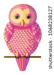 funny curious pink yellow owl... | Shutterstock .eps vector #1068238127
