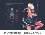 glamorous pretty girl in dark... | Shutterstock .eps vector #1068257933