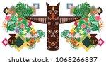 vector illustration of pagan... | Shutterstock .eps vector #1068266837
