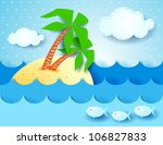Tropical background, vector illustration - stock vector