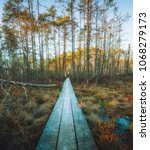 beautiful spring swamp and... | Shutterstock . vector #1068279173