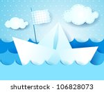 Paper boat, vector illustration - stock vector