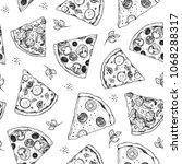 pizza seamless pattern. hand...   Shutterstock .eps vector #1068288317