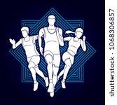 start running  people running... | Shutterstock .eps vector #1068306857