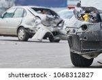 car crash accident on street ... | Shutterstock . vector #1068312827