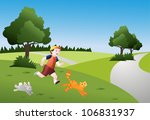 boy,cat,challenge,chase,children,domestic animals,education concept,environment,exercise,feline,forest,fun,game,green,green background