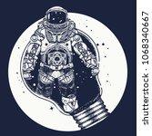 astronaut in a light bulb... | Shutterstock .eps vector #1068340667