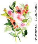 watercolor bouquet with flowers ... | Shutterstock . vector #1068340883