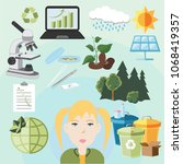 caucasian female ecologist ... | Shutterstock .eps vector #1068419357