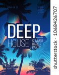 Summer Party poster design. Summer music party flyer artwork template A4.  Creative palm tree background party poster. Events like house music | Shutterstock vector #1068426707