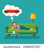 happy young woman dreams of a... | Shutterstock .eps vector #1068507257