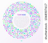 teamwork concept in circle with ... | Shutterstock .eps vector #1068507617