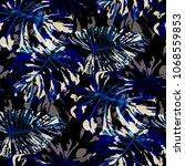 tropical leaves. seamless... | Shutterstock .eps vector #1068559853